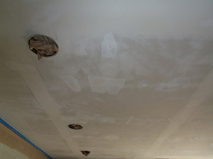After removing the popcorn ceiling, your beautiful new ceiling can be easily painted in whatever color you choose. ©2015 Colorblast Painting